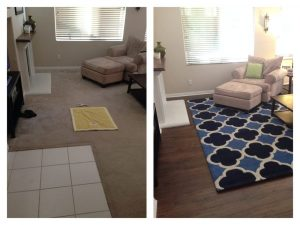 After and before view of Carpet Flooring | Installation Galley | Direct Carpet Unlimited