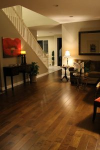 Living room Hardwood floor | Installation Galley | Direct Carpet Unlimited